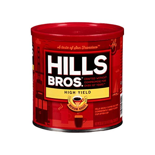 Hills Bros High Yield Ground Coffee, Medium Roast, 30.5 Oz. Can – Full-Bodied Rich Coffee Taste, Balanced for Optimum Caffeine
