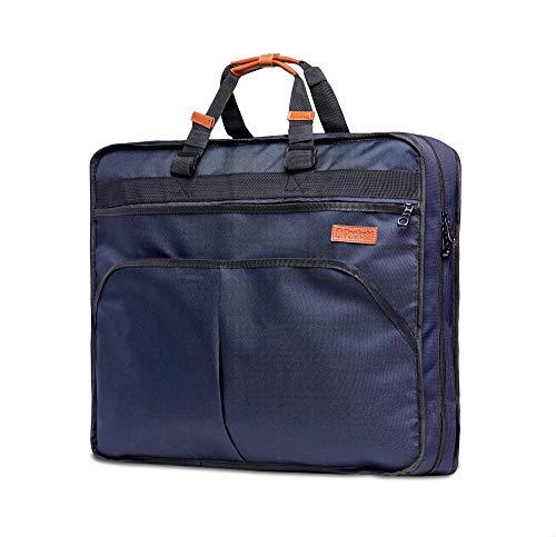 Packshi Kleidersack Anzug Kleidersack Reise Anzugtasche Herren | 127 cm Lang | Business Reisetasche Anzughülle Kleiderhülle Handgepäckstück für Jede Reise, Geschäftsreise | Viele Taschen | Blau Braun