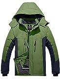 Wantdo Men's Waterproof Jacket Thick Rain Coat Winter Anorak Grass Green XL