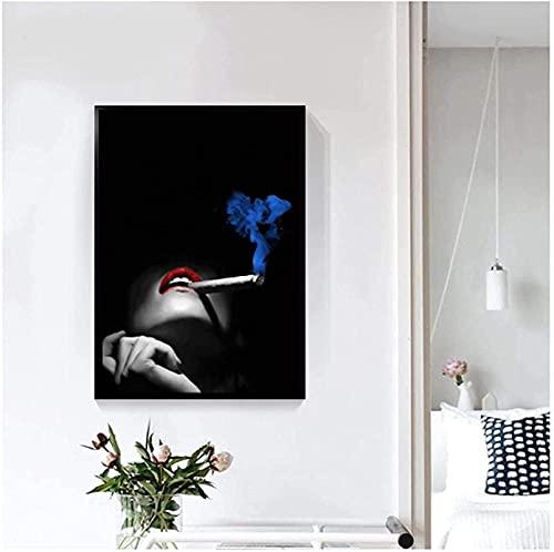 YHJK Imagen de póster Carteles e Impresiones en Blanco y Negro Mujeres fumadoras Atractivas Lienzo de Labios Rojos Pintura Sala de Estar Decoración del hogar 70x90cm sin Marco