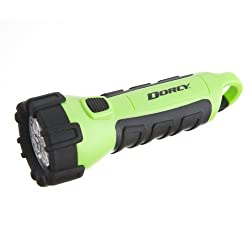 professional Dorsey 55 lumen floating waterproof LED flashlight, with Dorsey carabiner clip, neon green (41-2513)