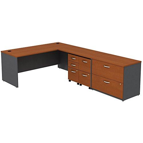 Bush Business Furniture Series C L-Desk with 3 Mobile Pedestal and 2 Drawer Lateral File, 72W x 78D, Auburn Maple/Graphite Gray