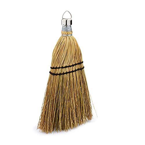 Rubbermaid Commercial 12 Inch Corn Whisk Broom, Yellow, Flagged Natural Bristles for Multi-Surface Sweeping, Remove Dirt and Debris from Porches, Floors Decks, Driveways, Sidewalks