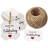 Baby Shower Tags,Wedding Favors Tags,Thank You for Celebrating with Us Paper Gift Tags,100 Pcs Kraft White Thank You Tags for Wedding Party Gift Tags with 100 Feet Natural Jute Twine