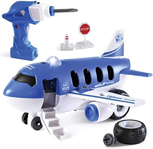 Top Race Flugzeug Montage Spielzeug Fernbedienungsflugzeug zum Selbstbauen, bauu-dir-deinen-Flugzeug STEAM Spielset mit Bohrmaschine und Zubehör, Spielzeug für Kinder 3, 4, 5,6 Jahre alt