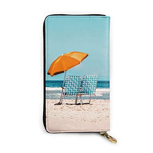 Orangefarbener Sonnenschirm trendig bedruckte Geldbörse für Frauen mit Reißverschluss Clutch Portemonnaie Tasche Kartenhalter