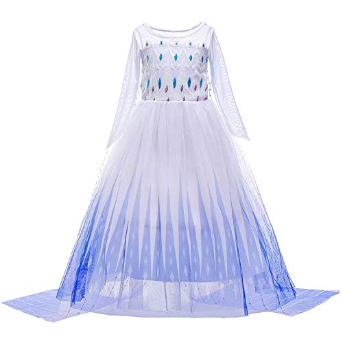 by Unbranded Elsa Costume White Ice Princess Cosplay Dress for Toddler Girls 3-10t