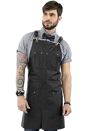 Real Leather Apron - Black Leather Body, Pockets and Crossback Straps - Split-Leg, Lined - Adjustable for Men and Women - Pro Chef, Barista, Barber, Woodworker, Shop, Bartender, Maker