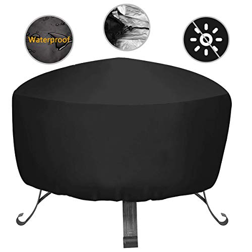 Fire pit cover Round Waterproof Dustproof Outdoor Garden Patio Protective Cover Large 87x51cm (Black)