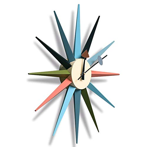 YYL Nelson clock Nelson Clock, Sun Ray Wall Clock Wooden and Metal Clock In Multicolor, Modern Silent Battery Operated Wall Clock Pop Color Quartz Clocks, for Home,18.8inch