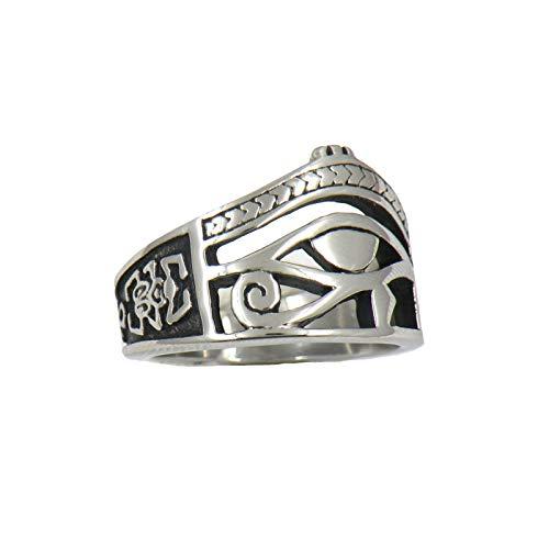 CRYPIN Anello da Uomo in Acciaio Inossidabile, Gioielli Vintage con Simbolo Geroglifico dell'occhio Egiziano di Horus, Misura 7-15