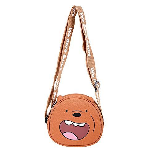 Bolsa Transversal Pardo/Grizzly, Urso sem Curso/We Bare Bears. Cor: marrom. Composição: Poliéster