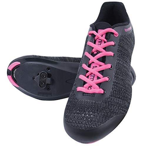 Tommaso Pista Aria Knit Women's Indoor Cycling Class Ready Shoe and Bundle - Black/Pink - SPD - 37
