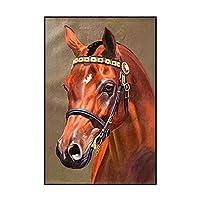 赤い馬5Dダイヤモンド塗装キットフルダイヤモンドDIY動物クロスステッチ大人子供リビングルームの装飾ラウンドダイヤモンドフレームレス-50X70cm