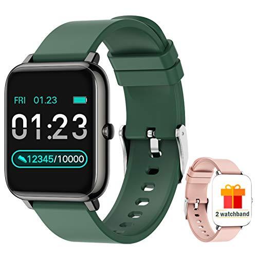 ZONMAI Smartwatch, Reloj Inteligente Hombre Mujer niños Impermeable IP67, Correa Reemplazable, Pulsómetro, Monitor de Sueño, Calorías Podómetro para Android iOS