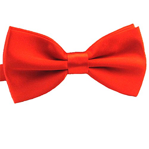 QYdress Men Bow Tie Adjustable Length Wedding Male Fashion Boys Satin Bowties one Size Red