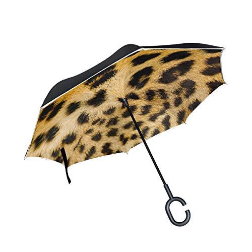 MALPLENA - Paraguas de Piel de Leopardo con Apertura automática en la Parte Superior y en la Parte Trasera Invertida para Mujer/Hombre/Coche/Lluvia al Aire Libre Impermeable y Resistente al Viento