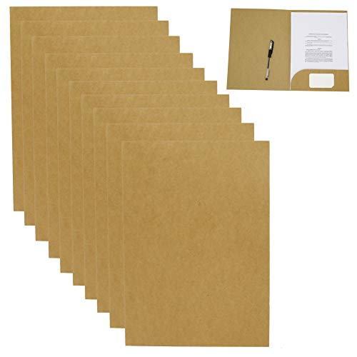 Smiling Art Präsentationsmappe Sammelmappe Dokumentenmappe in A4 aus 320g/m² Kraftpapier 10 Stück einsetzbar für Schule, Uni, Projekt, Business (Beige, 10er)