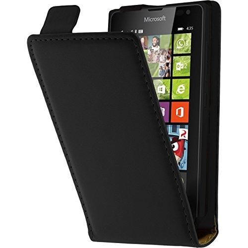 PhoneNatic Kunst-Lederhülle kompatibel mit Microsoft Lumia 435 - Flip-Hülle schwarz + 2 Schutzfolien