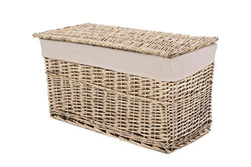 Vivanno Elegante Truhe Wäschetruhe Korb aus Weide, Lea, 80 cm, Grau