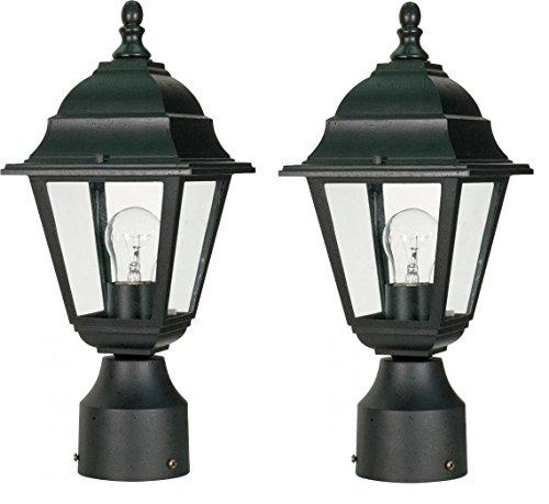 Nuvo One Light Post Lantern (Black, 2-Pack)