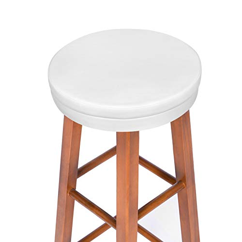 Shinnwa Bar Stool Cushions Round with Elastic, Vanity Stool Cover Seat Pads with Foam Padded and Non Slip Bottom 13 Inch White