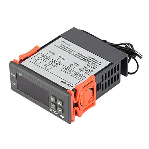 Twee relaisuitgangen Digitale temperatuurregelaar Thermostaat met sensor Zwart 24V
