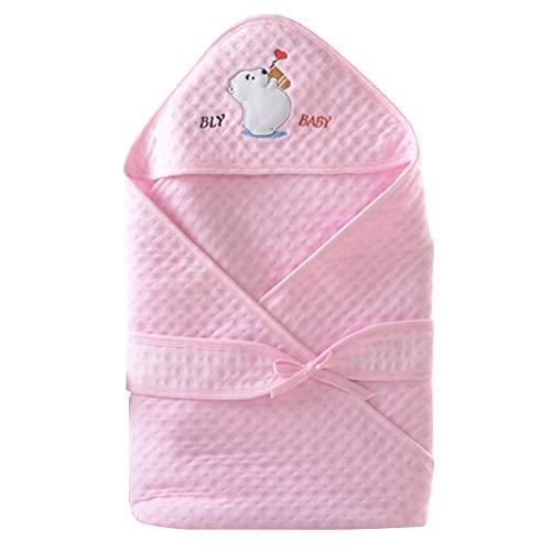 Happy Cherry Unisex Bébé Couverture d'emmaillotage à Capuche Coton Nid d'ange Légère Sac de Couchage Nouveau-né Fille Garçon Taille Unique 90 * 90cm Rose pour 0-6 mois