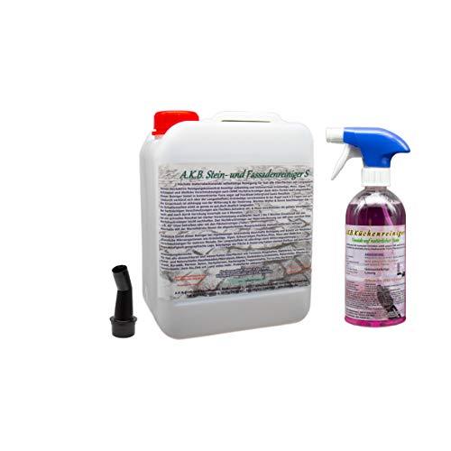 A.K.B. Steinreiniger/Fassadenreiniger S Konzentrat, 2655(bei farbiges auf Farbechtheit prüfen!),(5L+Kü-Probereiniger) Dachreiniger Flechtenentferner Pilzentferner Grünbelagentferner