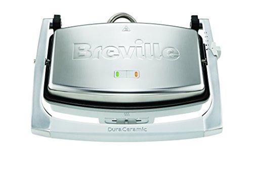 Breville DuraCeramic VST071X Sandwichera de tamaño mediano con revestimiento, 1000 W, 0 db, cerámica, Inox, planchas lisas, color gris