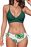 CUPSHE Women's Lace Up Bikini Swimsuit Green Top Adjustable Shoulder Straps Sets, S