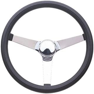 3-Spoke Classic Series Black Foam Steering Wheel w Chrome Perforated Spokes