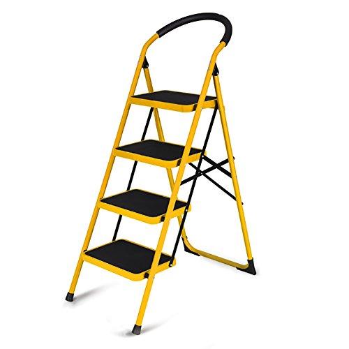 Haushaltsklappleiter verdickte DREI oder Vier Stufen 5 Stufen Fischgrät-Innentreppen Leiter Rolltreppe Leiterkletterleiter kleine Trittleiter Stabilität und Sicherheit (Color : Yellow)