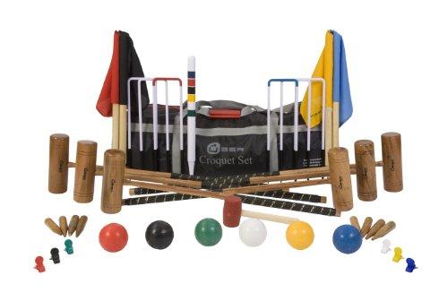 Conjunto para croquet (6 jugadores, con 2 tamaños de mazos 2 x 34' y 4 x 38', 6 bolas compuestas, 6 argollas de acero, martillo, pinzas, banderas y estaca de centro, en bolsa de nylon de transporte)