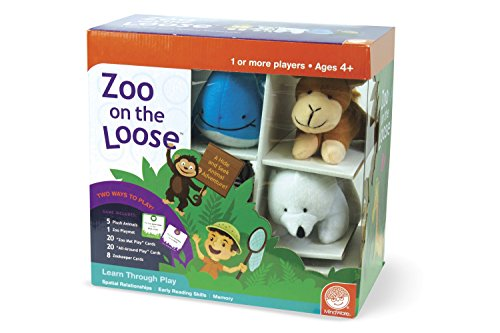 MindWare Zoo On The Loose – Early Learning Games for preschoolers – Great for Home or daycares – Includes 5 Stuffed Animals & Parent Guide for Multiple Ways to Play – 1 or More Players, Ages 4+