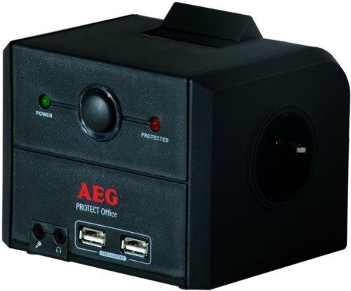 AEG Überspannungschutzleiste (3X Schuko, 2X USB Lader Datenleitungsschutz, Kopfhörer)