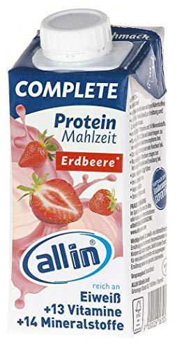 all in® COMPLETE Protein Drink Erdbeere 14x 200ml - Hochkalorische Trinknahrung auf Milch-Basis   Mehrkomponenten Protein Shake Mahlzeit zur schnellen Gewichtzunahme