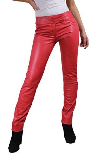 RICANO Low Cut Damen Lederhose, Lamm Nappa Echtleder in schwarz und rot (Rot, XS)