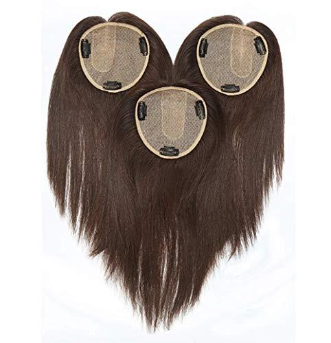 ZTBXQ Perruques de beauté Outils Accessoires Base de Couronne en Soie Topper en Cheveux Humains 4,7 'x 4,7' Fermeture de Grands postiches supérieurs pour Femmes Central 8 'Tan