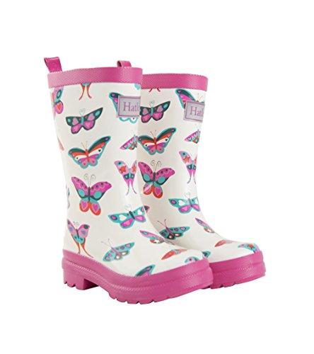 Hatley Rain Boots, Botas de Agua Chica, Blanco (Groovy Butterflies), 32 EU (1 US)