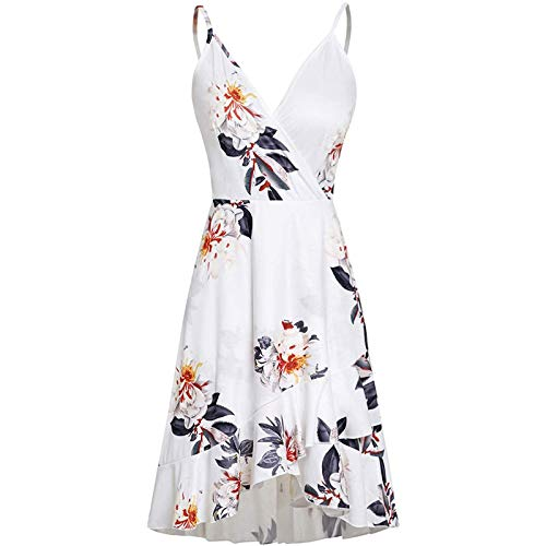 FQZWONG Women's Summer Mini Adjustable Spaghetti Dress Holiday Floral Print Wrap V Neck Dress Casual Ruffle Dress for Beach(B-White,X-Large)