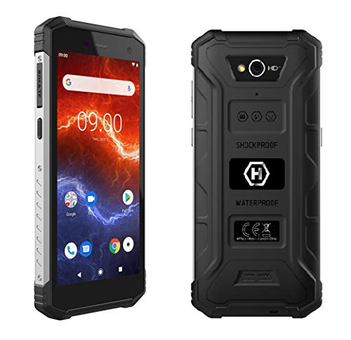 "HAMMER Energy 2 Outdoor Handy 5,5"" HD+ IPS, 5000mAh Mega-Akku mit Schnellladen, IP68, IK05, LTE, Smartphone Wasserdicht, Quadcore 2Ghz, 3GB + 32GB, NFC, Baustellenhandy Dual SIM, Android 9, 4G Schwarz"
