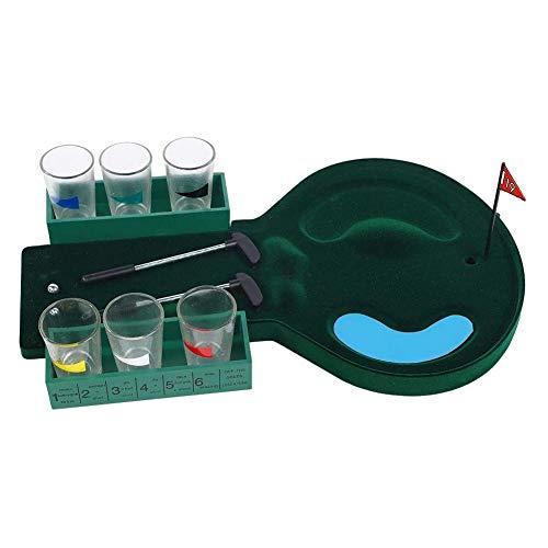 Mississ Golfspielset, Golfspiel-Trinkspiel, mit 2 Bällen, 6 Tassen, 2 Schlägern und 1 Flaggengolf, Desktop-Spiel für Familien-Indoor-Club-Freizeitpartyspiele
