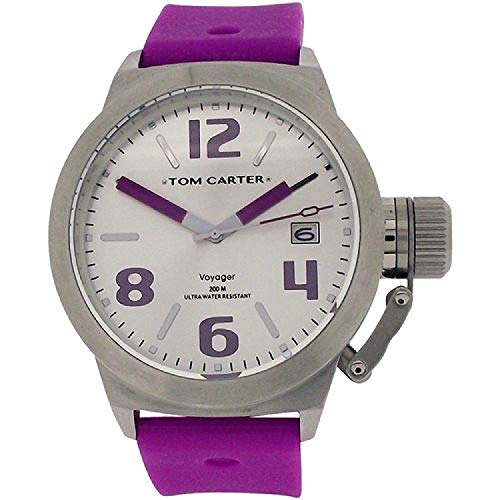 Tom Carter Unisex White Dial, Date Stainless Steel Purple Silicone Strap Watch