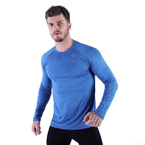 Mens Athletic Performance Active T-Shirts Workout Quick Dry Tee UV Sun Protection UPF 50+ Long Sleeve Blue XX-Large