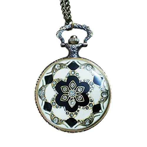 TOOGOO Reloj de Bolsillo Collar de Pendiente de Cristal de Patrón para Se?Ora Diamantes Retro Corte Europea Y Americana