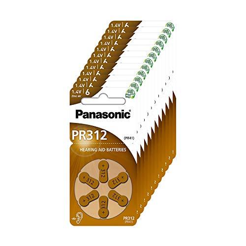 Panasonic PR312 Batterie zinco-aria per apparecchi acustici, Tipo 312, 1.4V, Batterie per apparecchi acustici, 10 confezioni (60 pezzi), marrone