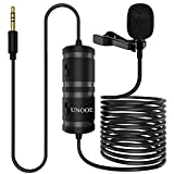 Lavalier Microphone UNOOE Omnidirectional Condenser Lapel Microphone No Battery Required for YouTube Interview Video Recording Compatible with Phone DSLR Camera/Smartphone (6M/19FT)