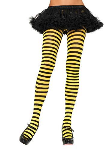 LEG AVENUE 7100 - Blickdichte Ringel-Strümpfhose Kostüm Damen Karneval, Einheitsgröße, schwarz/gelb