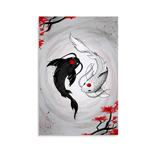 Impression sur toile Yin Yang - Carpe koï japonaise - Noir et blanc - Décoration d'intérieur - 50 x 75 cm - Sans cadre